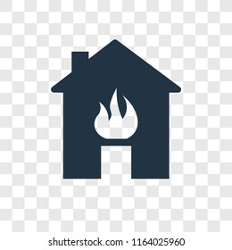 Fire in the house vector icon isolated on transparent background, Fire in the house logo concept