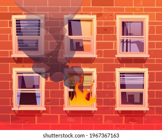 Fire in house, window with burning flame, long blazing and black steam at real estate building facade of red brick. Dangerous accident at home or residential dwelling, Cartoon vector illustration