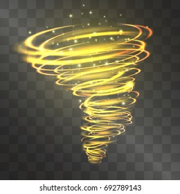 Fire hurricane light effect. Vector glowing tornado, swirling storm cone of shining flames on transparent background. Glittering blizzard flame funnel, golden magical illumination.
