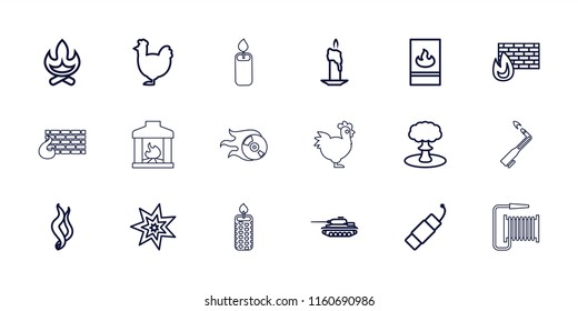 Fire icon. collection of 18 fire outline icons such as chicken, bonfire, candle, brick wall fire, smoke, explosion, tank, blowtorch. editable fire icons for web and mobile.