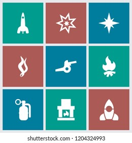 Fire icon. collection of 9 fire filled icons such as fireplace, smoke, dynamite, explosion, cannon, rocket. editable fire icons for web and mobile.