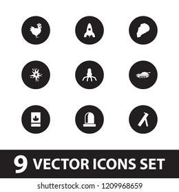 Fire icon. collection of 9 fire filled icons such as rocket, smoke, siren, cannon, tank, chicken. editable fire icons for web and mobile.