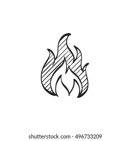 Fire icon in doodle sketch lines. Flame hot item business