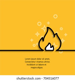 Fire icon drawing in linear style on yellow background with sample text. Banner witn flame silhouette. Sticker sign for your design needs