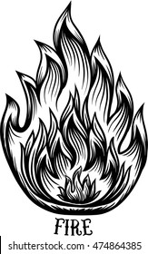 Fire Icon. Elegant filigree line art zentangle style. Tattoo, coloring page for adult. T-shirt design.Hipster tattoo idea. Elements of fire Symbol.Vector