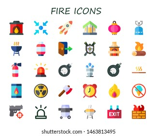 fire icon set. 30 flat fire icons.  Simple modern icons about  - fireplace, meeting point, rocket, cabin, lantern, camping gas, grill, gas, exit, weapon, firewood, extinguisher