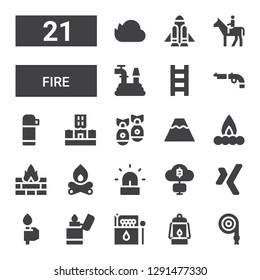 fire icon set. Collection of 21 filled fire icons included Hose, Lantern, Matches, Lighter, Torch, Xing, Mining, Siren, Bonfire, Fire, Campfire, Volcano, Missile, Flood, Thermo