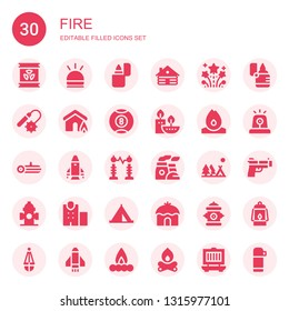 fire icon set. Collection of 30 filled fire icons included Radioactive, Hooter, Lighter, Cabin, Fireworks, Weapons, Insurance, Billiard, Candles, Fire, Log, Rocket, Electricity