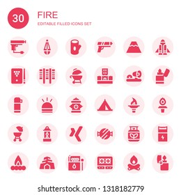 fire icon set. Collection of 30 filled fire icons included Gun, Lantern, Log, Volcano, Billiard, Grill, Flood, Ambulance lights, Thermo, Hooter, Hydrant, Tent, Torch, Barbecue