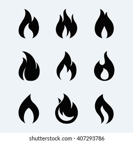 Fire icon vector set  isolated from background. Different dark fire icons in modern flat style.
