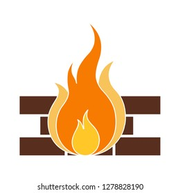 fire icon-firewall  sign-warning illustration-safety illustration-flame isolated