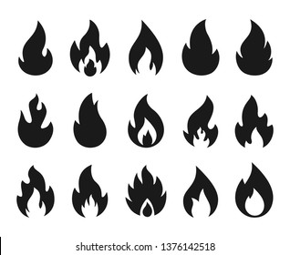 Fire icons. Burning flame silhouette logos, simple fire symbols for hot sauce and kitchen grill. Vector fire energy graphic art templates set