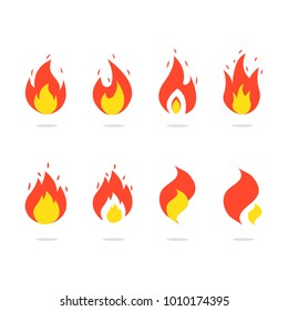 Fire Icons Set. Colorful Flames in the Flat Style,Icon Ilustration