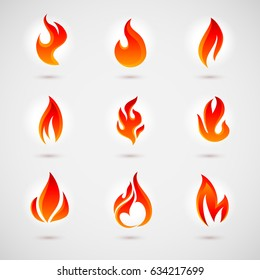 Fire Icons Set. Colorful Flames in the Flat Style. Simple, Icons Bonfire
