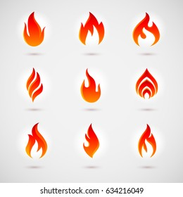 Fire Icons Set for Design. Colorful Flames in the Flat Style. Simple, Icons Bonfire