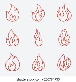 Fire icons set, thin line style, flat design