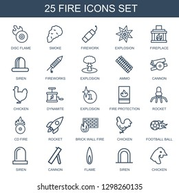 fire icons. Trendy 25 fire icons. Contain icons such as disc flame, smoke, firework, explosion, fireplace, siren, fireworks, ammo, cannon, chicken. fire icon for web and mobile.