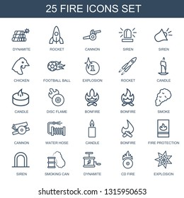 fire icons. Trendy 25 fire icons. Contain icons such as dynamite, rocket, cannon, siren, chicken, football ball, explosion, candle, disc flame, bonfire. fire icon for web and mobile.