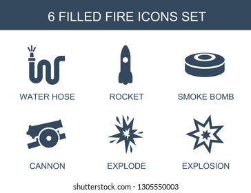 fire icons. Trendy 6 fire icons. Contain icons such as water hose, rocket, smoke bomb, cannon, explode, explosion. fire icon for web and mobile.