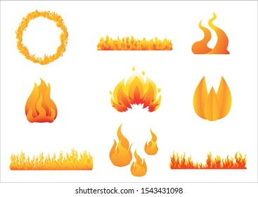 Fire illustration, ring of fire, flame
