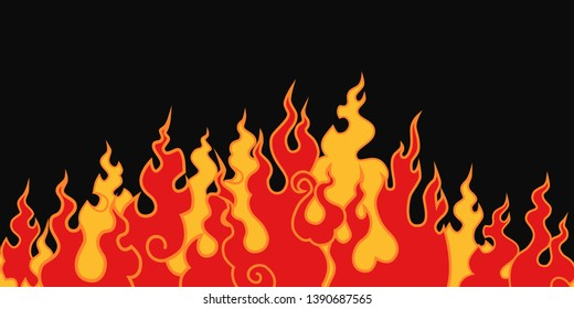 The fire.  The image of the flame on a black background.