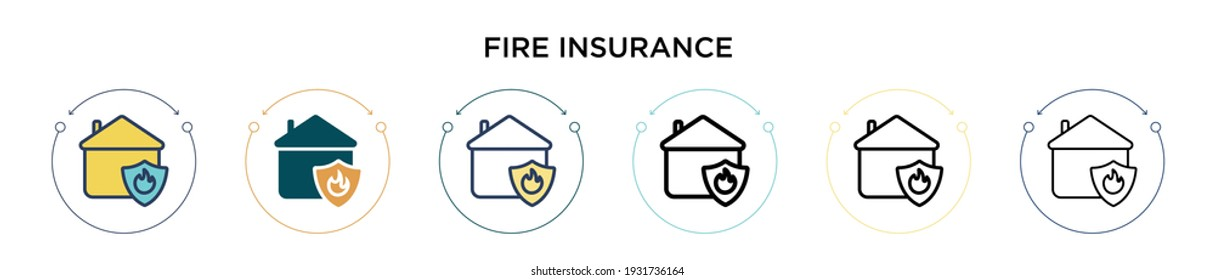 Fire insurance icon in filled, thin line, outline and stroke style. Vector illustration of two colored and black fire insurance vector icons designs can be used for mobile, ui, web
