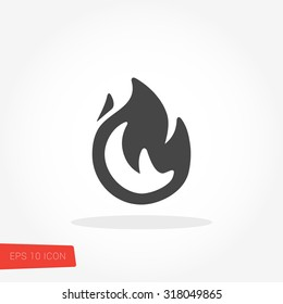 Fire Isolated Flat Web Mobile Icon / Vector / Sign / Symbol / Button / Element / Silhouette