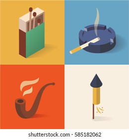 Fire isometric icon set, 3d, smoking background. Matches, ashtray, pipe, rocket