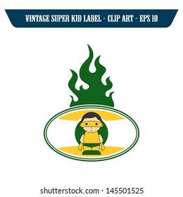 fire label art mask hero boy