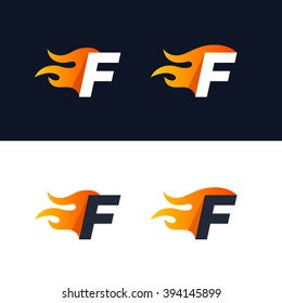 Fire Letter F logo template. Burning flame design element vector illustration. Corporate branding identity