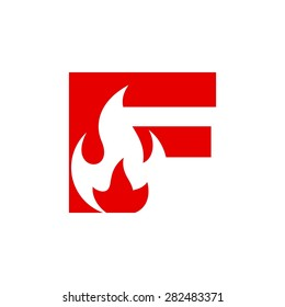 fire letterform wordmark logotype initial logo vector template icon letter f