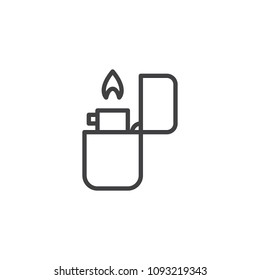Fire lighter outline icon. linear style sign for mobile concept and web design. Lighter fire flame simple line vector icon. Symbol, logo illustration. Pixel perfect vector graphics