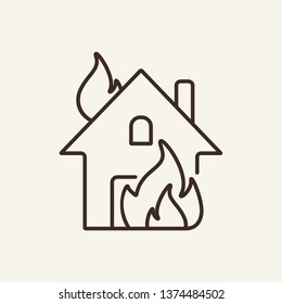 Fire line icon. House building in flames. Insurance concept. Vector illustration can be used for topics like financial security, safety, damage, accident prevention