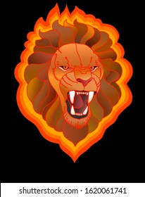 Fire lion. Symbol of strength. Colorful illustration. Growling lion