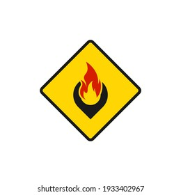 Fire location icon flat design isolated on white background. Vector illustration