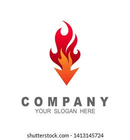 fire logo with arrow design illustration, restaurant icon, fast symbol