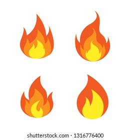 fire logo icon design template vector
