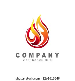 Fire logo . Red, yellow fire. Icon illustration for design, simple logo design