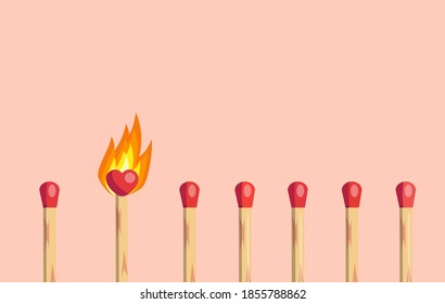 Fire of love concept. Burning matchstick with heart shaped head between ordinary others on pink background. Passion and perfect match vector illustration.