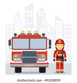 Fire man with a fire truck in the city. Firefighter profession. Firefighter in work wear. Flat cartoon fire man illustration. Objects isolated on a white background.