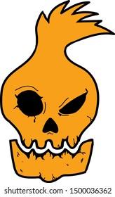 Fire Minion Pumpkin Skeleton Logo Design