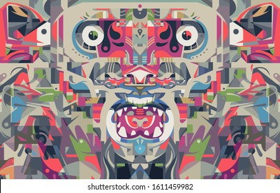 Fire monkey graphic poster. Complex street art and graffiti influenced shapes. Vector illustration in geometric style.