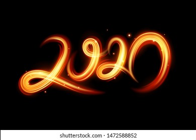 Fire motion effect to 2020 happy new year, vector and illustration.
