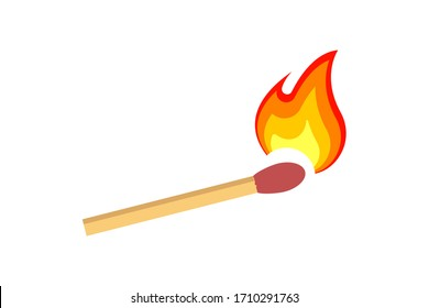 Fire on a match. Burning Fire. Warm. Ignition of a match