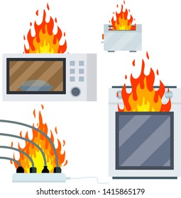 burning microwave, toaster, wire with cable and socket