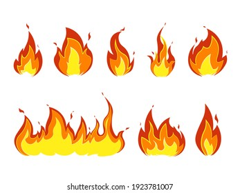 Fire on a white background. Flame And Fire Symbols