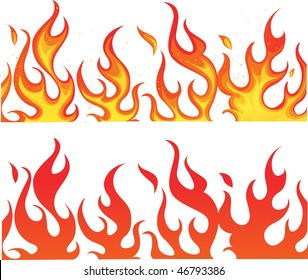 Fire on white. vector