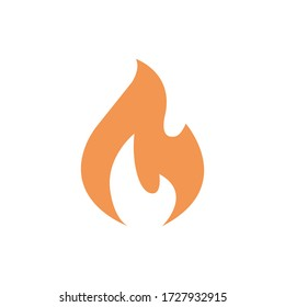 fire orange yellow icon in flat simple style. vector symbol