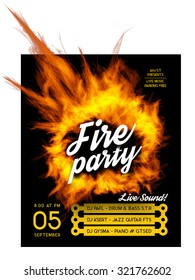 Fire party poster template.