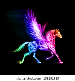Fire Pegasus in spectrum colors on black background.